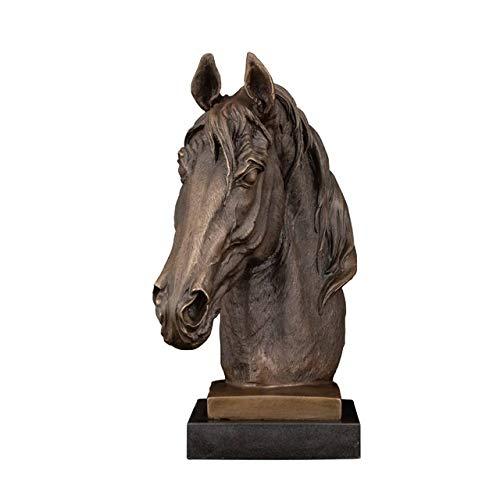 ZLBYB Bronce Cabeza Cabeza Estatua Estatua Animal Busto Escultura con marmol Base...