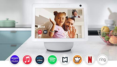 Echo Show 10 con Lloyds Foco Inteligente WiFi, Multicolor + Luz Blanca Fría y Cálida, Blanco