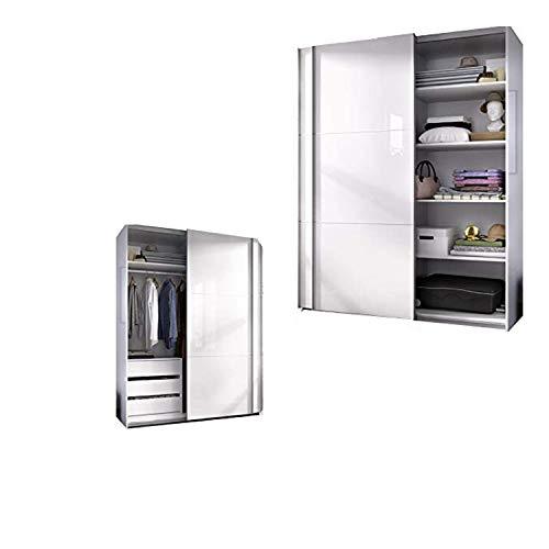 HABITMOBEL Armario Dormitorio ropero, Estantes + Cajonera Blanco Brillo, Medidas: 150 Ancho x 204 x 65 cm Fondo