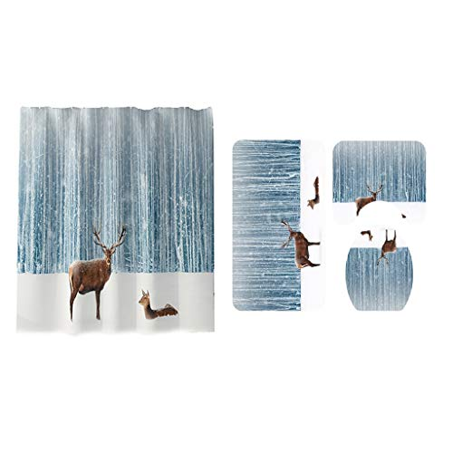 Set of 4 Christmas Theme Shower Curtain and Bath Mat Set, Dolphins and Tropical Fish Decor Waterproof Non-Slip Bathroom Curtain and Rug Set with Hooks