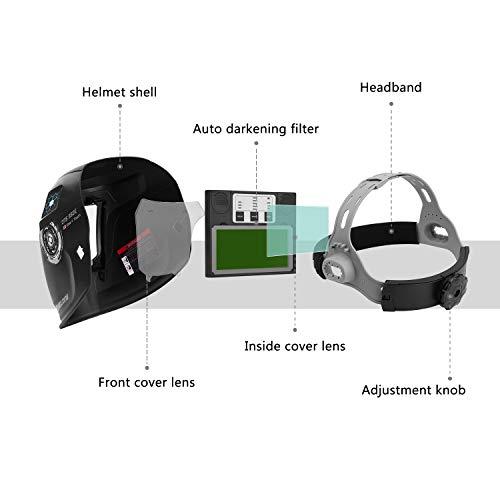 DEKOPRO Solar Powered Welding Helmet Auto Darkening Hood with Adjustable Wide Shade Range 4/9-13 for Mig Tig Arc Welder Mask
