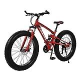 GMSWCG Fat Tire Mountain Bike 26 Inch Wheels Adult Bicycle, 21 Speeds Sand Trek Bike, Double Disc Brake Suspension Fork Big Tire Anti-Slip Bikes, Red