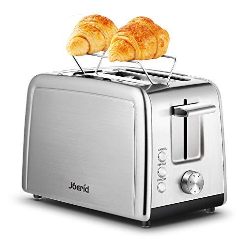Toaster 2-Scheiben, Joerid Toaster aus rostfreiem Edelstahl mit Warmhalterost, extra breiter Schacht & 7-stufige Einstellungen mit Auftau- / Aufwärm- / Abbruchfunktion, kleiner Toaster für Brotwaffeln