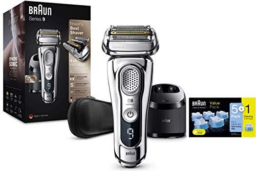 Braun Series 9 9395cc Afeitadora Eléctrica Hombre con Estación Limpieza y Carga Clean&Charge + Cartuchos de recarga 5+1 unidades