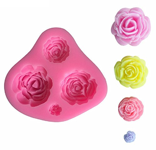 Siliconen mal voor ambachtelijk gebruik van 4 rozen - ook geschikt voor zeep