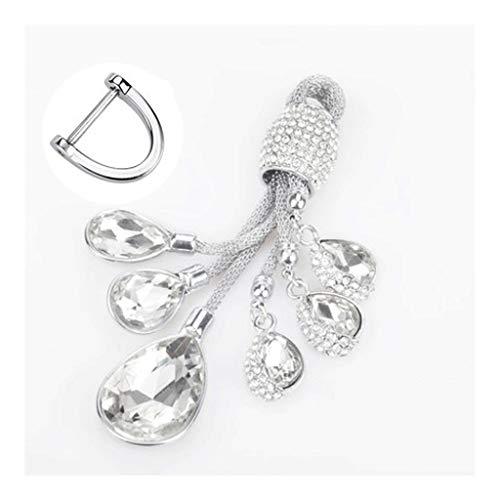 ZNZN Llavero El Llavero es Firme y no es fácil de reemplazar, la Artificial cristalina del Diamante Llavero Anillo, joyería de Coches Colgante Regalo for Las Chicas Llavero (Color : Silver)