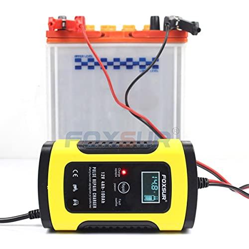 healthwen FOXSUR 12V Cargador de batería Inteligente UPS automático para Motocicleta y automóvil Pantalla LCD EFB AGM Gel Cargador de batería de reparación de Pulso Amarillo UE