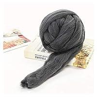 柔らかいウールロービング巨大なスーパー糸、糸紡ぎ手針フェルト用手編みDIY自家製工芸 (Color : A)