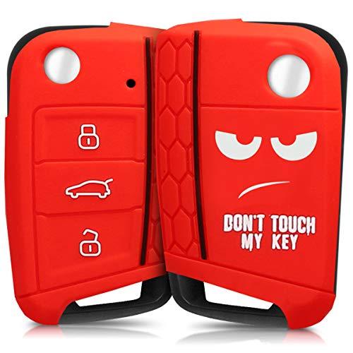 kwmobile Autoschlüssel Hülle kompatibel mit VW Golf 7 MK7 3-Tasten Autoschlüssel - Silikon Schutzhülle Schlüsselhülle Cover Don't Touch My Key Weiß Rot