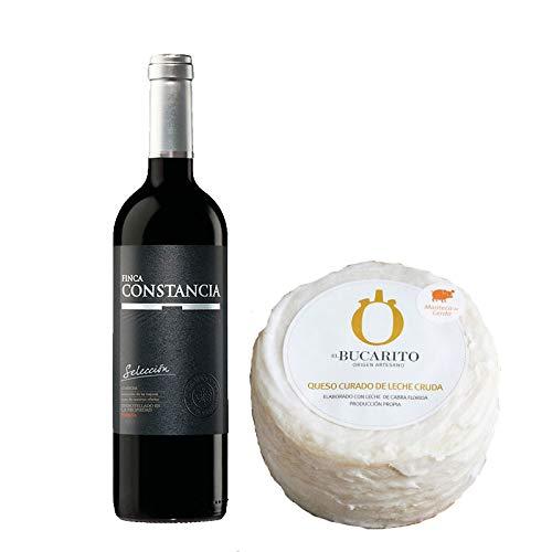 Pack de Vino tinto Finca Constancia Seleccion y Queso Curado de Leche Cruda en Manteca - Vino de 75 cl y Queso de 900 g aprox - Mezclanza