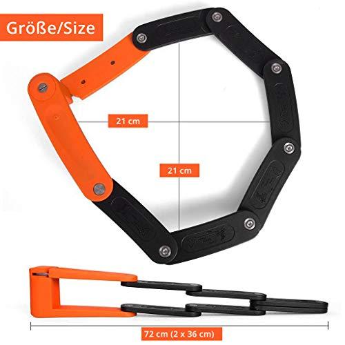 Z:NEX Fahrradschloss/Faltschloss/Gliederschloss mit hoher Sicherheitsstufe/Speziell gehärteter Stahl / 8 Glieder/sehr leicht & kompakt – nur 686g / inkl. Transporttasche/Halterung - 4