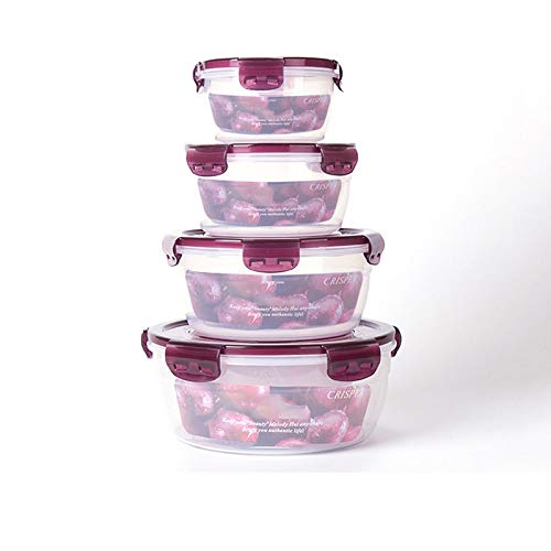 YAANGSI Recipiente de plástico para Almacenamiento, Caja de Almacenamiento de Alimentos con Tapa, Caja de Almacenamiento de Alimentos con asa. (4 Piezas) (Size : (ABCD Set))