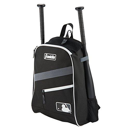 Franklin Sports MLB Batpack Bag - Youth Baseball, Softball and Teeball Bag - Equipment Bag for Sports - Bag Holds Bats (2) and Includes Fence Hook - Black/Grey/White