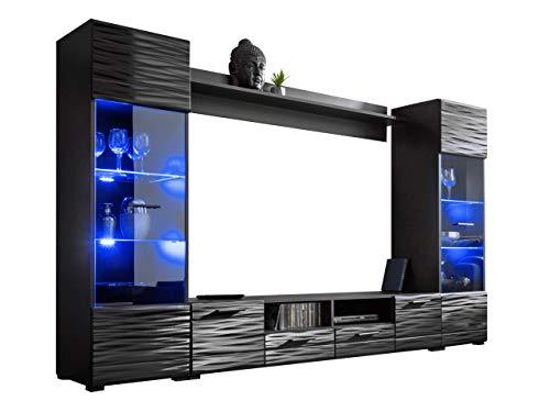 Wohnwand Modica mit Dekorative Beleuchtung LED RGB mit Fernbedienung, Anbauwand, Wohnzimmerschrank, Vitrine, TV-Lowboard, Wandregal (Schwarz/Sahara Hochglanz)