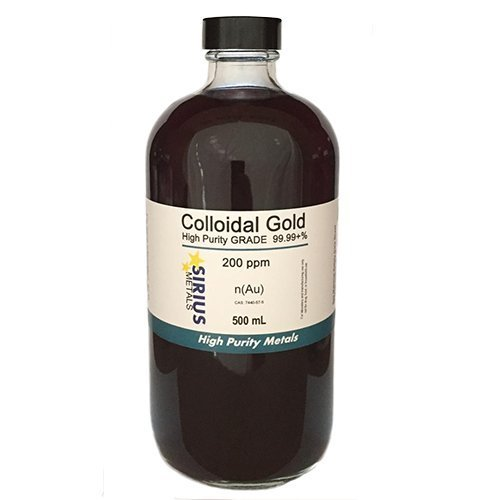 99.99+% pure True Colloidal Gold – 500 mL of 200 ppm in clear glass bottle w/phenolic cap
