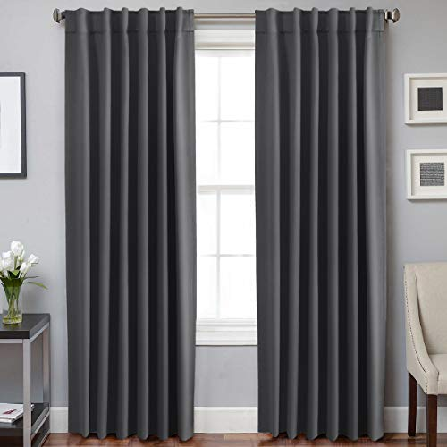H.VERSAILTEX Blackout Curtains Thermal Insulated Window Treatment Panels Room Darkening Blackout Drapes for Living Room Back Tab/Rod Pocket Bedroom Draperies, 52 x 84 Inch, Charcoal Gray, 2 Panels