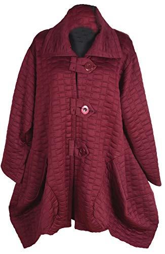 Italy Donna Damen Lagenlook Wolle Ballon Mantel Jacke Trench Coat 44 46 48 50 52 54 56 L XL XXL 3XL 4XL Winter Übergang Lila (48)