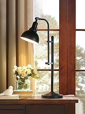Metal Desk Lamp Rustic Task Table Lamp Black Adjustable, Industrial Standing Lamp with On/Off Switch, Vintage Work Lamp, Reading Lamp for Bedroom, Study Room &Office, ETL Certificate.