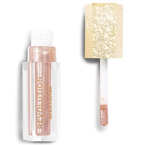 Makeup Revolution Jewel Collection Lip Topper (exquisite) - Rosa-goudglinsterende lipgloss met duo-chromeeffect, per stuk verpakt (1 x 4,5 gram)