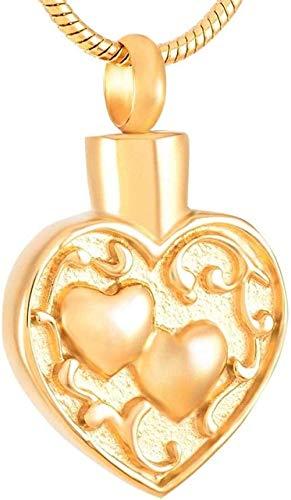 TYBM Collar De Cenizas Urna De Joyería De Cremación Urna Urna Urna De Acero Inoxidable Urna De Cremación De Doble Corazón Urna Humana/Mascota Colgante Collar-A