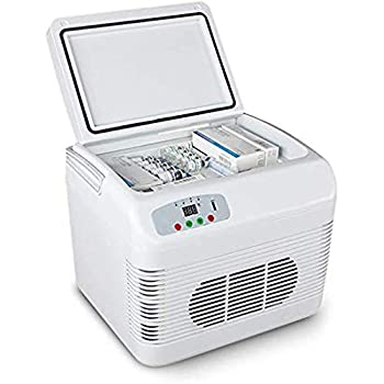 Drug Insulin Vaccine Refrigerator 12L Portable Car Truck Refrigerator Freezer with Cooling and Warming Function Mini Electric Cooler Warmer for Driving Travel Fishing Outdoor and Home Use,White