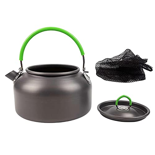 biteatey Hervidor de agua para camping, cafetera para exteriores, mini hervidor de agua, tetera portátil, aluminio, para picnic, senderismo, 0,8 l