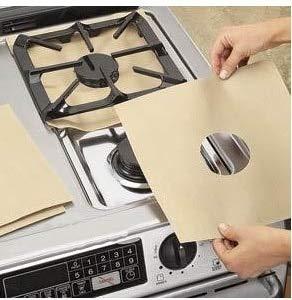 Gas kookplaat beschermer, thuis herbruikbare gasfornuis kookplaat kookplaat beschermer voering hoes voor het schoonmaken van keukengereedschap, beige, 4 stuks