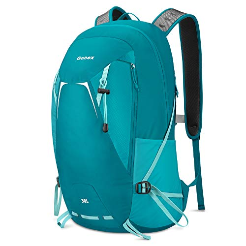Gonex Hiking Travel Backpack 30L Small Lightweight Daypack for Camping Climbing Trekking Backpacking Cycling for Women Men College Students Work Outdoor Sports Greenish Blue