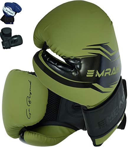 EMRAH - Guanti da boxe, serie Sinner, per allenamento Muay Thai, in pelle opaca, per sparring, kickboxing, combattimento, sacco da boxe e cuscinetti per messa a fuoco (verde opaco, 283,5 g)
