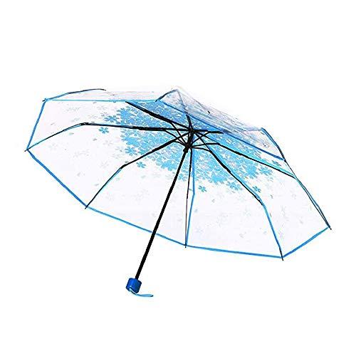 Kersenbloesem transparante paraplu, 3-voudige reisstrand Duidelijke winddichte paraplu voor alle gelegenheden zoals strand, winkelen, buitenactiviteiten Vrouwen, meisjes, studenten