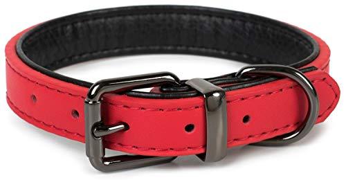 Puccybell Hundehalsband 2 farbig mit Leder, klassisches Halsband in Kontrastfarben für kleine, mittelgroße und große Hunde HB004 (S, Rot)