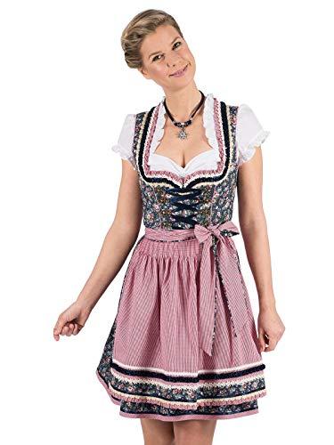Krüger Madl Mini Dirndl Sea of Roses 50er Länge Gr 32-44 Trachtenkleid Kleid