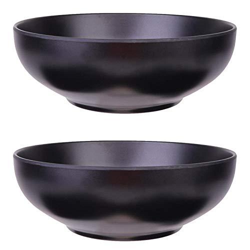 XKMY Ramen Bowls 2pcs estilo japonés Ramen Bowls Elegante contenedor de comida negro fideos porcelana de imitación japonesa Ramen Bowl