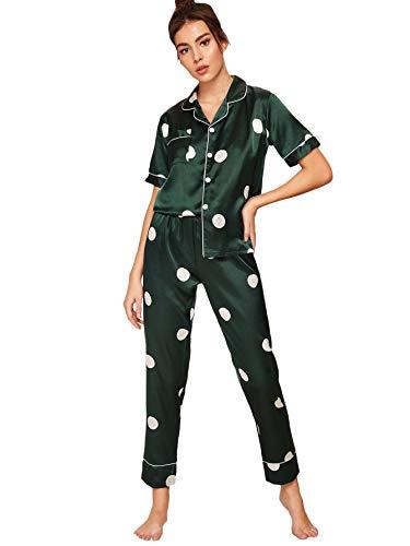 Floerns Women's Printed Two Piece Short Sleeve Sleepwear Long Pants Silk Pajamas Sets Green Dot L