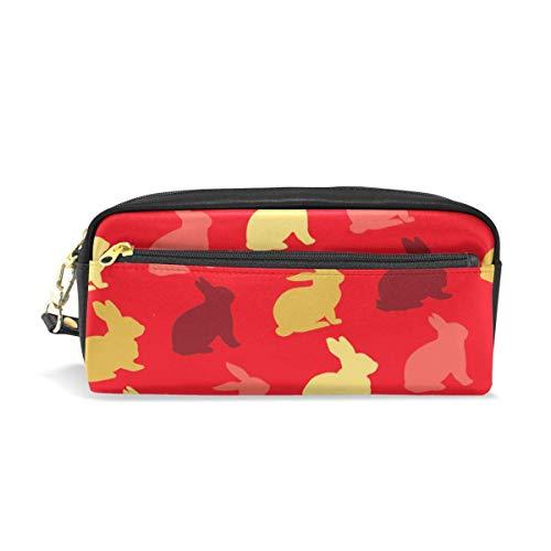 Cosmetic Bag,Bunny Silhouette Pattern Roter Hintergrund Pu Leder Make-Up Pinsel Tasche, Classic Pencil Pounchs Für Erwachsene Jungen Mädchen