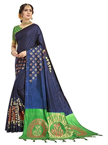 Sarees for Women Banarasi Art Silk l Traditional Indian Wedding Gift Sari with Unstitched Blouse Navy Blue