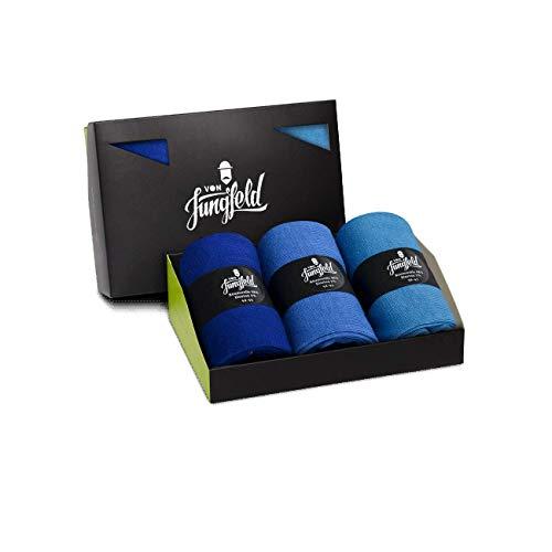 von Jungfeld - Herren Socken/Strumpf Herrensocken 3er-Pack 39-41 blau/royalblau/hellblau
