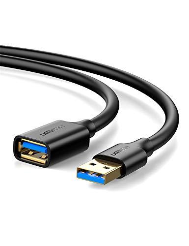 UGREEN Cable Alargador USB 3.0 Cable Extension USB Tipo A Macho a Hembra para Impresora, Ratón, Teclado, Hub, Pendrive, Mando de PS3, VR Gafas, Disco Externo y Otros, 3 Metros