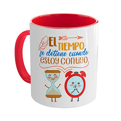 Kembilove Tazas de Desayuno para Parejas – Taza de Café con Mensaje El tiempo se detiene cuando estamos Juntos – Regalos Originales para Regalar en San Valentín, Cumpleaños – Tazas de 350 ml