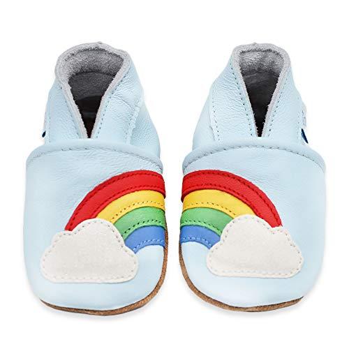 Dotty Fish Zapatos de Cuero Suave para bebés. Antideslizante. Azul con Arco Iris. 6-12 Meses (19 EU)