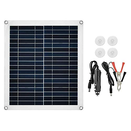 Chenbz Panel de células solares, Panel Solar Flexible 25W policristalino Cargador Impermeable al Aire Libre de la Motocicleta del Coche Autumobile