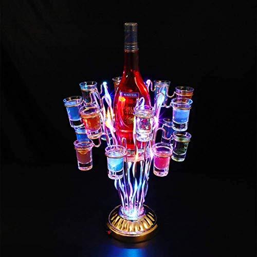 Botellero rústico apilable, Estante del vino con el sostenedor de cristal Copa de Champagne Glass Copa Estante con LED parpadeante efectos de luz for la fiesta privada, Bar, KTV, club nocturno (32 × 3