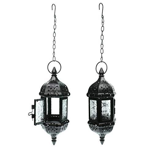 LOVIVER 2X Marokkanischen Stil Metall & Glas Petrol/Licht Kerzenhalter Hängende Laterne Kerzenhalter Für Hochzeit Home Coffee Shop Decor - Schwarz