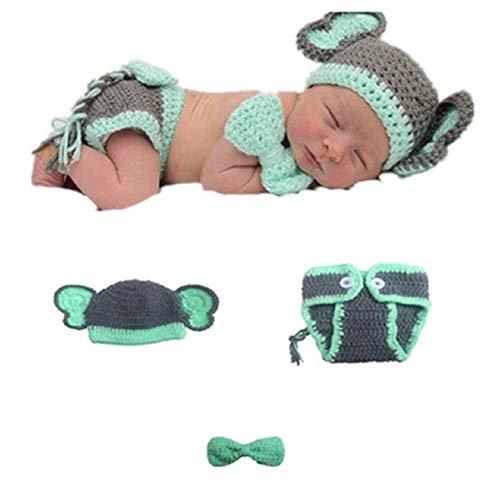 Matissa Baby Kleinkind Neugeborenen Hand gestrickt häkeln Strickmütze Hut Kostüm Baby Fotografie Requisiten Props (Baby Elefant)
