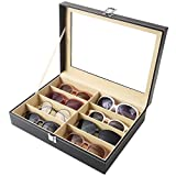 Siveit 8 Slot Sunglass Organizer Leather Eyeglasses Collector Eyewear Display Case Storage Box, Black