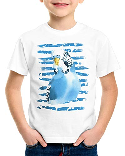 CottonCloud Periquito Común Camiseta para Niños T-Shirt Pluma pequeña pájaro, Talla:152