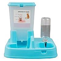 Tamkyo 自動ペットフィーダー取り外し可能なフードディスペンサーウォーターボトル猫犬給餌ツールペット製品猫犬用品ブルー