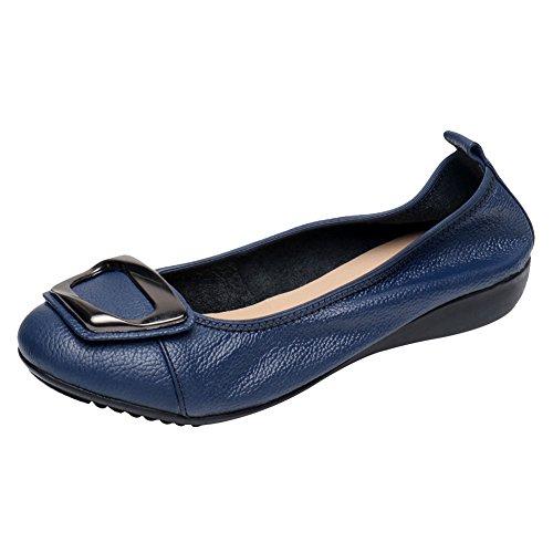 Jamron Mujer Piel Genuina Comodidad Zapatos Suela Blanda Bailarinas Talón de Cuña Baja Pantuflas Azul SN020624 EU39.5