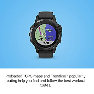 Garmin fenix 5 Plus, Premium Multisport GPS Smartwatch, Features Color Topo Maps, Heart Rate Monitoring, Music and Contactless Payment, Black with Black Band