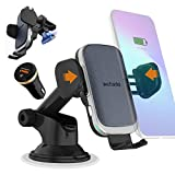 15W Auto Wireless Car Charger Phone Holder 2020 Version, Fast Qi Automatic Clamping Charging Mount Dock Compatible for iPhone 12/11 Pro Max/XR/Xs/8, Samsung S20 Ultra S10 S9+ Note 20 10 (Navy)-Wefunix